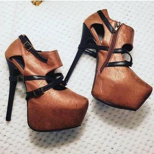 Ishani  Bronze Platform Heels with Buckles